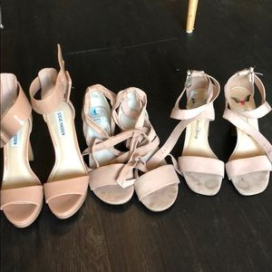 3 pairs of pink heels rose